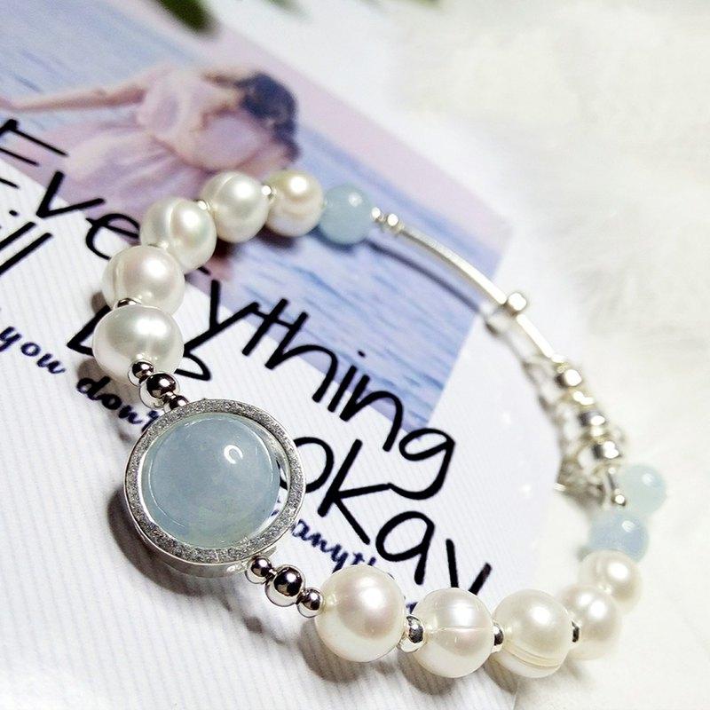 天然海寶藍珍珠水晶手鐲招運五角星手鏈清新百搭甜美手串925純銀手環