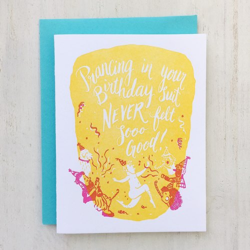 Birthday Suit Letterpress Card