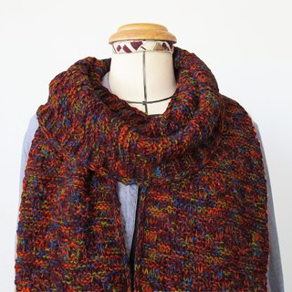 Lan wool scarf (wine red orange blue yarn)