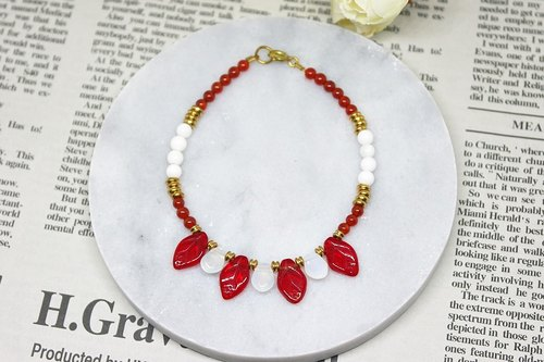 Natural stone bracelet _ x brass button red autumn leaves ➪ Chalcedony limited X1 # # # # clam