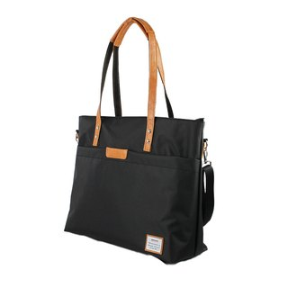 AMINAH-Brown lightweight shoulder tote bag [am-0306]