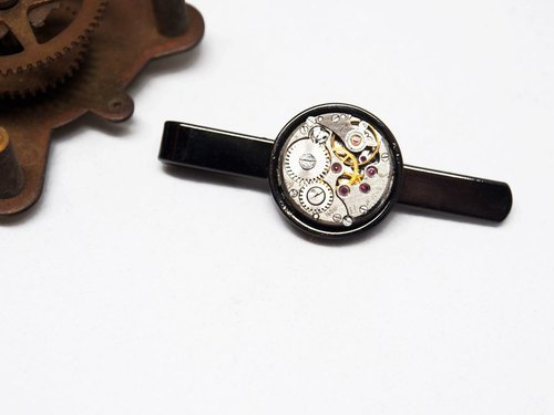 Steampunk Steam Punk Style 1960 Movement Tie Clip BK