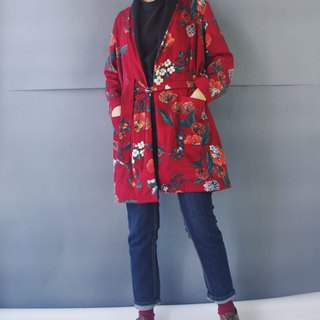 Design hand made - Japanese flower domineering red loofah collar bathrobe blouse jacket