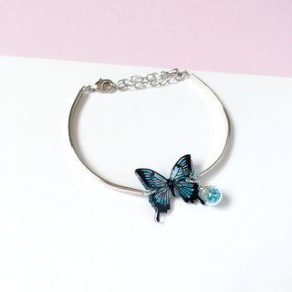 *Haku‧Neko* Hand painted Blue pattern swallowtail butterfly 925 Sterling Silver Bracelet