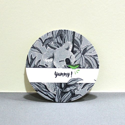 Koala Yummy Yummy series -A gray paper coaster paragraph (5 in)