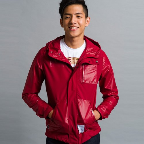 Windproof water repellent red sports jackets and sweatshirts