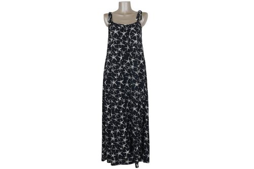 Starfish print camisole long dress <black>