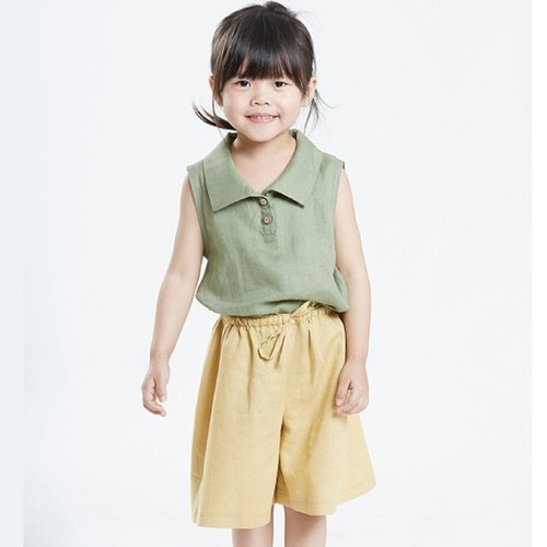 P0020 girls drawstring shorts culottes - Daffodils
