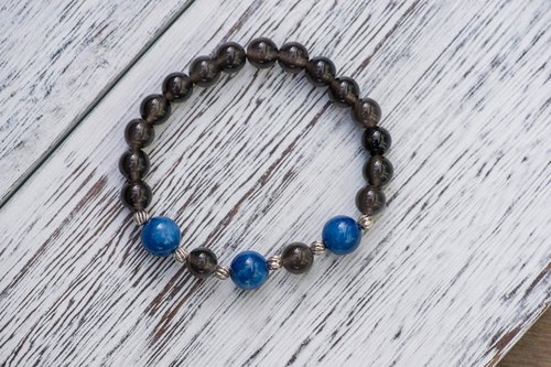 [Woody'sHandmade] claimed. Blue crystal obsidian hand string. C section. Profession - Kyanite with Icy Black Obsidian, type C
