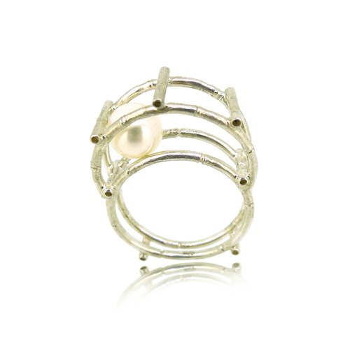 HK122 ~ 925 sterling silver bamboo pearl ring / pendant
