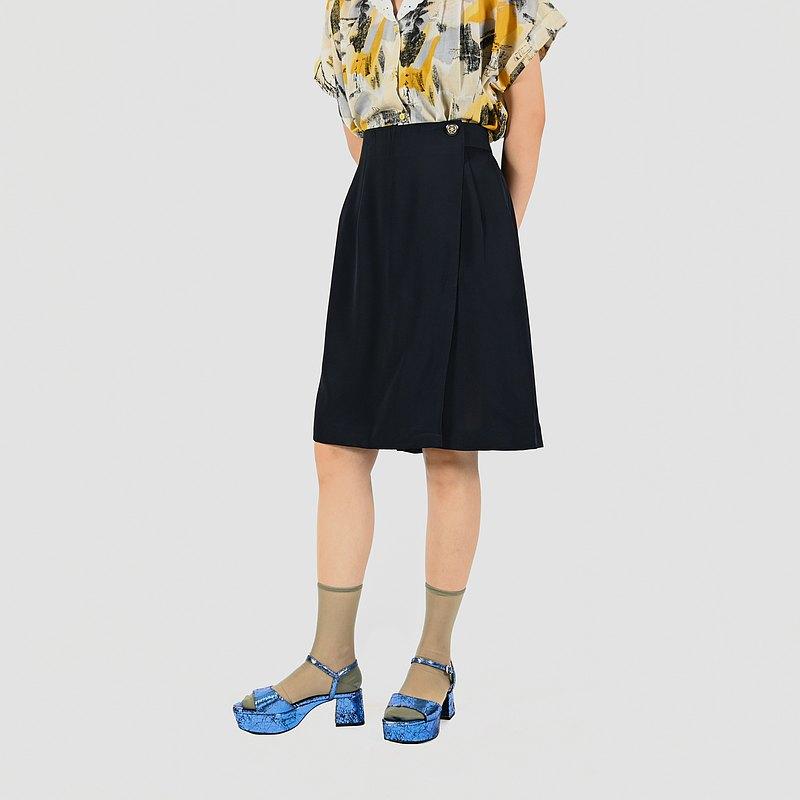 【蛋植物古著】魔法影型純色高腰古著短褲裙