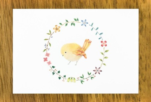 "Such as a picture book. Post Card ""yellow birds and flowers of the wheel"" (set of 2) PC-59"
