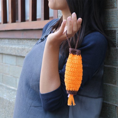 Limited hand-crocheted lace Cotton handbag light orange Cai