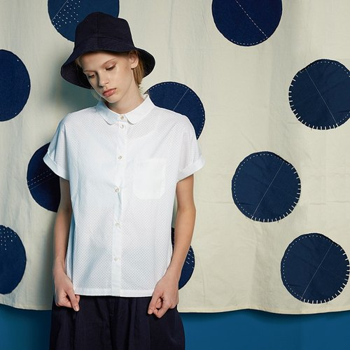 Hollow dots doll collar short-sleeved shirt