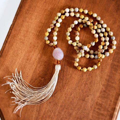 Handmade Agate with Shell beads Tassel Long Necklaces, Long Earth Tassel Necklace, Ready to ship