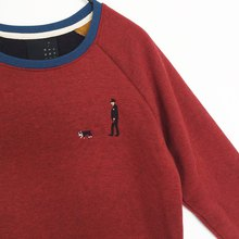 French Bulldog with a man / Embroidery // Sweater /// Burgundy Red
