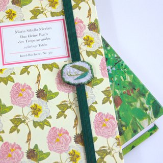 Embroidered plant book with bookmark lily of the valley
