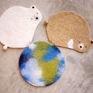 Leyang · good fun wool felt coasters - are squats or station V-neck bear Belle