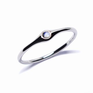 Royal blue moonston eplatinum minimum ring【Pio by Parakee】青月光石戒指