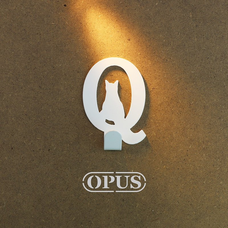 [OPUS Eastern Metalworking] When the cat meets the letter Q - hook (elegant white) / Mural hook / furniture rack / living storage / hanger / modeling hook / trace / wedding small HO-ca10-Q )