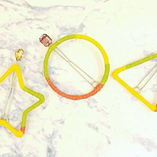 §HUKUROU § Yellow Green Gradient Geometry Hairpin