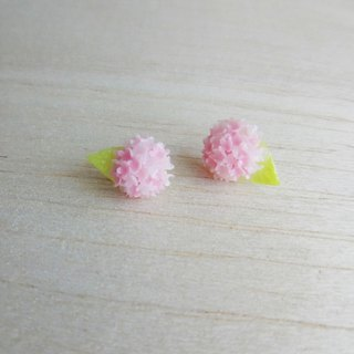 Pink two-color hydrangea sterling silver earrings / ear clips