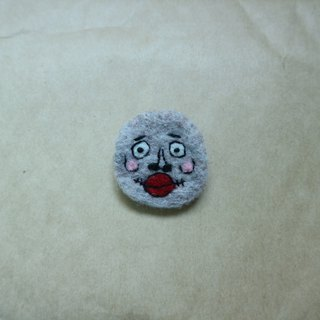 Light brown ugly-like wool felt brooch