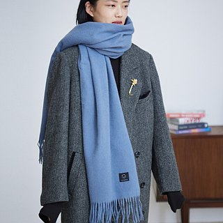 Gray-blue 11-color full-wool letter, please come to the hand, a scarf, big shawl, warm autumn and winter