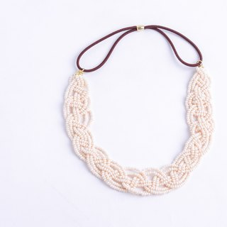 beads headband pearl beige wide