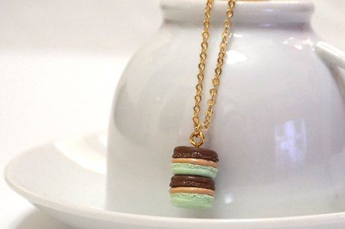 Delicious Macaron necklace mint chocolate X | Simulation dessert sweater chain necklace made of clay