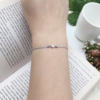 *Le Bonheur Line Happiness Line*925 sterling silver double loop star / red line bracelet jewelry fine line stars silver mini red line bracelet