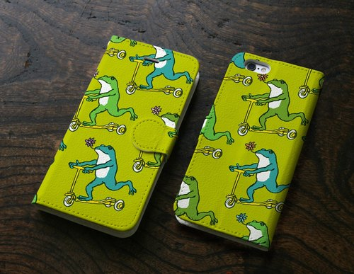 iPhone cover notebook type Frogs (green)