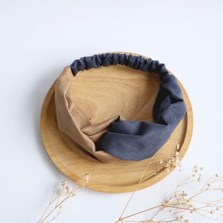 MaryWil Double Suede Hairband - Khaki/Dark Blue