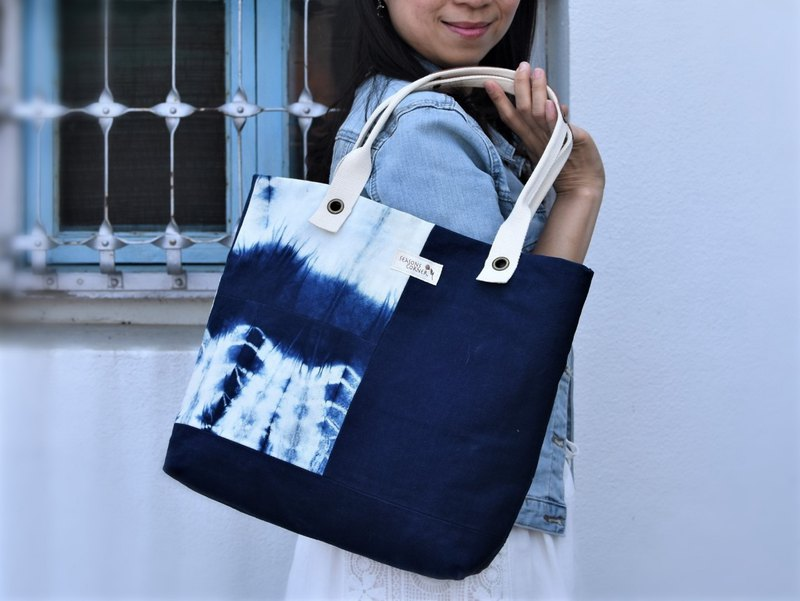 Fashion blue dyed stitched cotton side backpack shoulder bag