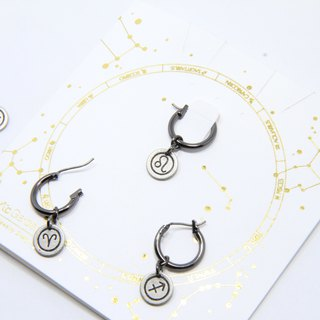 Constellation symbol single hoop earrings