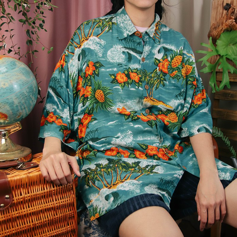 Hawaiian shirt C09 blue green floral shirt printed summer top [Tsubasa.Y old house]