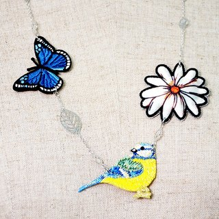 Flower butterfly bird embroidery necklace gift