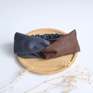MaryWil Bicolor Suede Hairband - Dark Green/Coffee