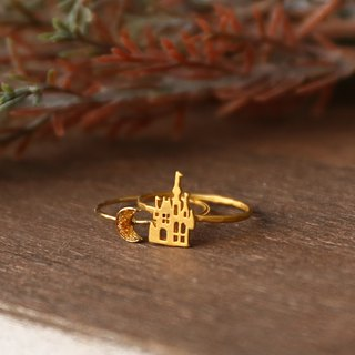 Japanese handmade ornaments - fairytale castle double ring