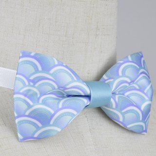 Sky blue wave pattern bow tie, custom bow tie, dream design studio, DBT17010