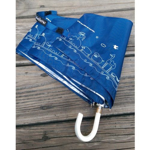 <Puputraga> Noah's Ark Park / hook anti-UV rain or shine dual-use umbrellas / dark blue