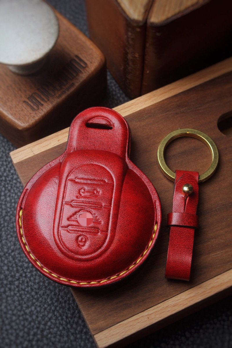 [Poseidon boutique handmade leather goods] [Customized version] Minicooper car key leather case