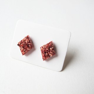 Rosy Garden Bronze rocks chip resin earrings