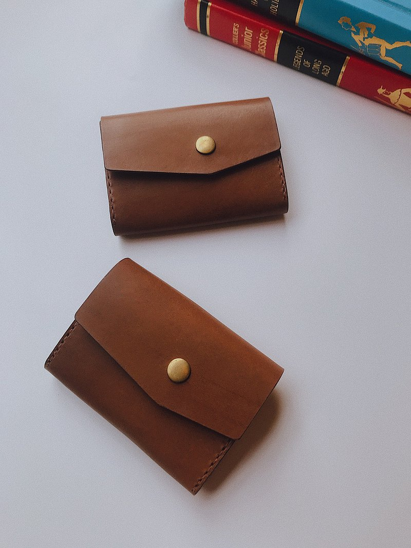 Handmade cowhide coin purse dark brown