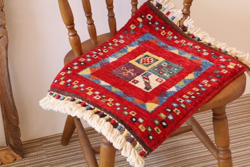 Lovely Red Handmade Carpet small size for chair Turkey kilim