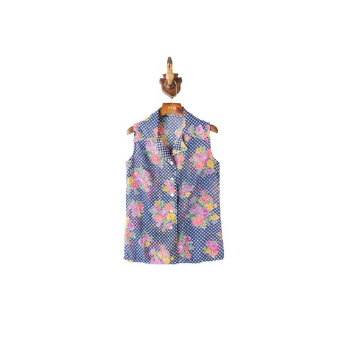 Banana cat. Banana Cats blue plaid flower vintage sleeveless shirt