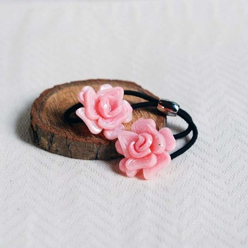 Magnificent dance, double flowers hair bundle, hair band - Pink