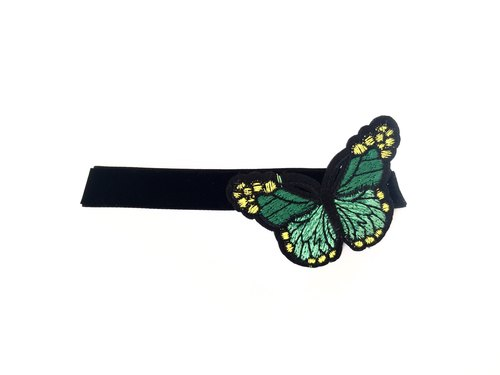 """Green embroidered butterfly Necklace"""