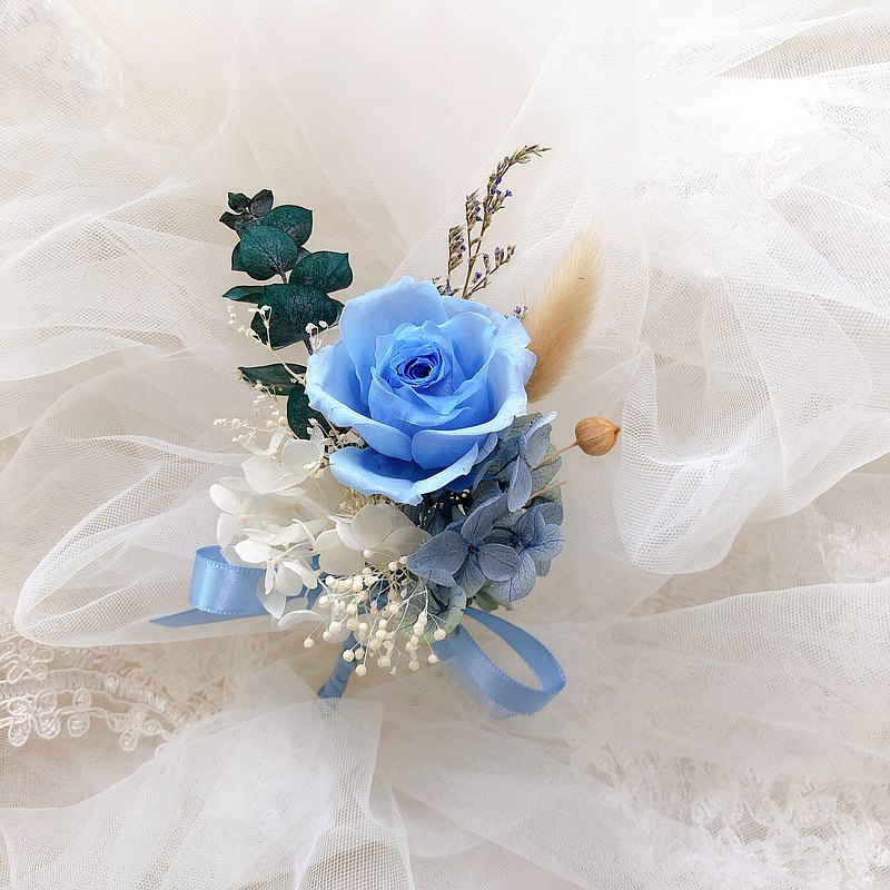 Lin Baby blue rose immortal corsage / wedding corsage / hospitality corsage