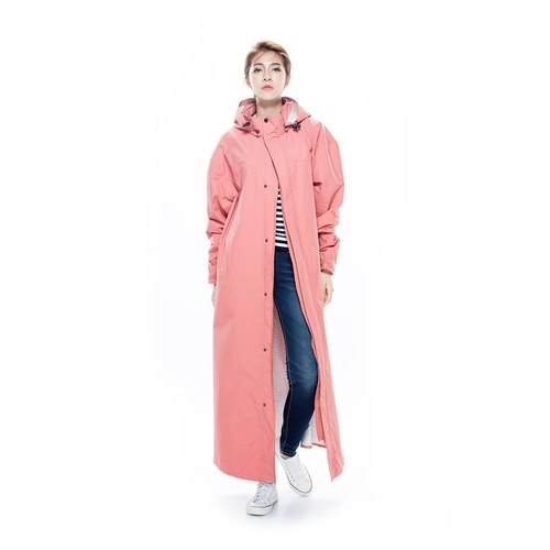 Dimensional front raincoat - Yin brick red-xL